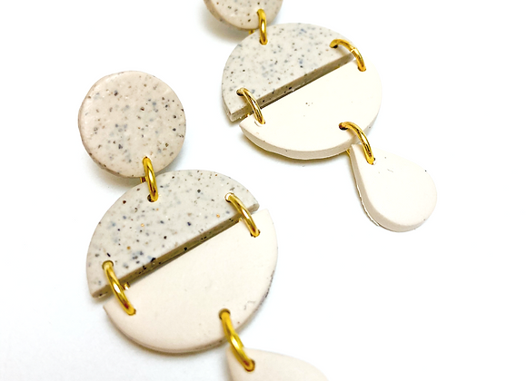 Stone and Beige connected Circle Dangle