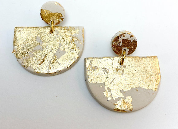 Beige and Gold Semi Circle Dangle