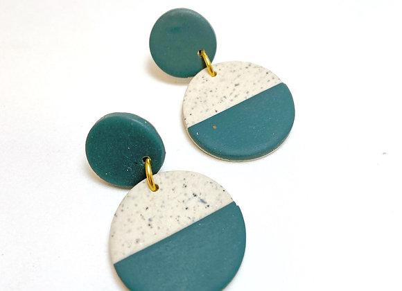 Beige Stone and Green Circle Dangles