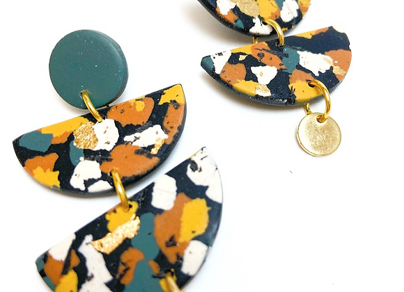 Green, Mustard and Terracotta Semi Circle drop Earrings with Brass accent.