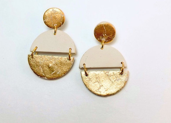 Beige and Gold connected circle Dangle