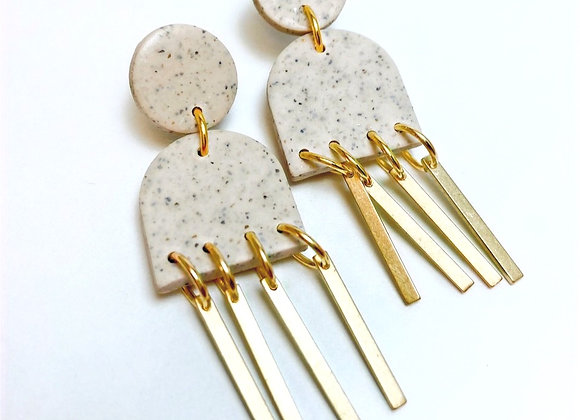Beige Stone and Brass Dangle