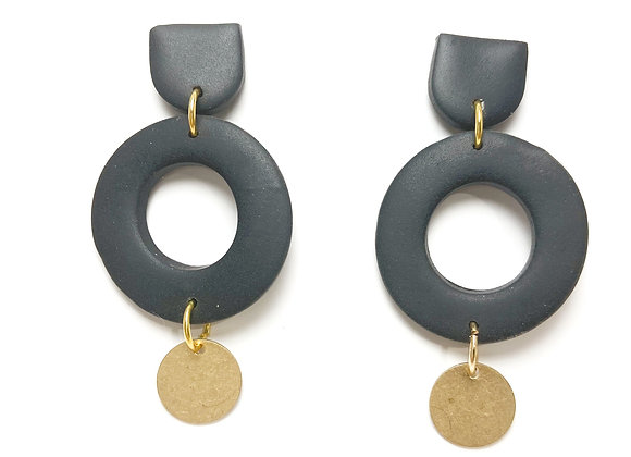 Black and textured brass dangle