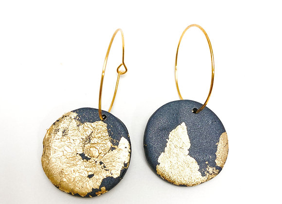 Black and gold dust hoops