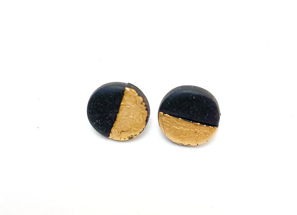 Black and gold dusted studs