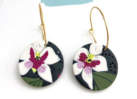 Orchid small hoops