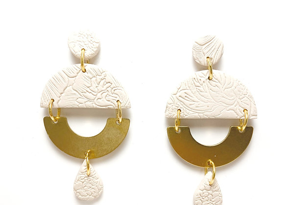 Textured cream and brass dangle