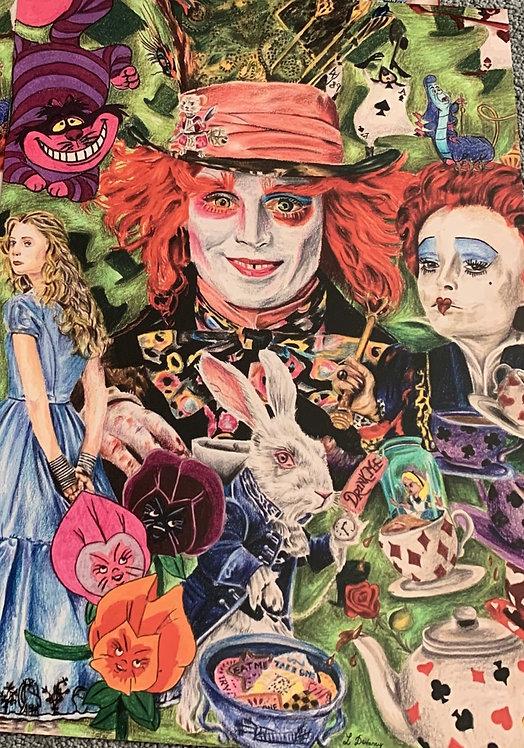 Johnny Depp Prisma pencil drawing prints A3.