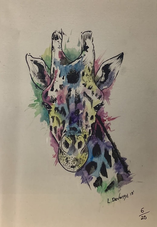 Giraffe - Water colour limited print.