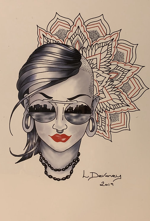 Mandala punk lady A4