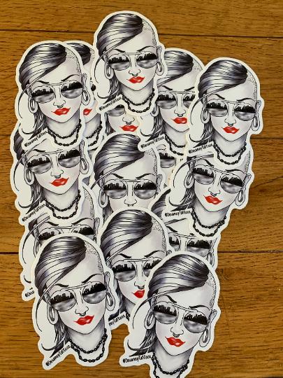 Steam Punk tattooed lady style sticker.