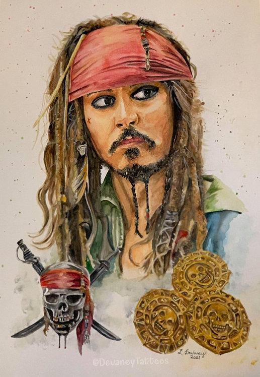 Johnny Depp A3 watercolour Giclee Print