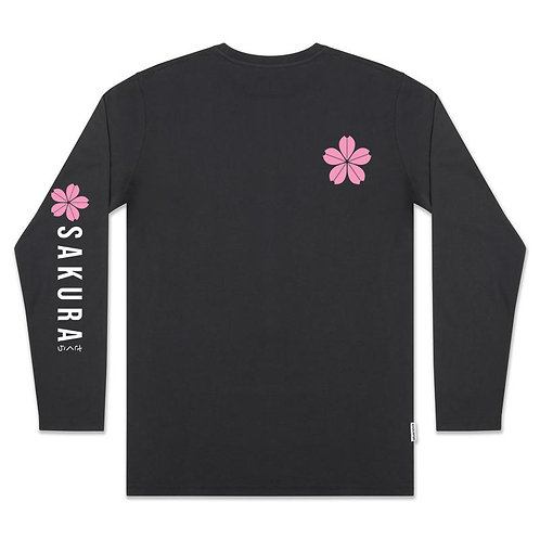 Pink Sakura Vertical Arm - Long Sleeve Tee (Black)