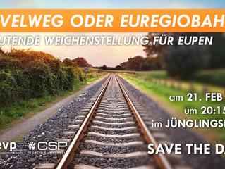 """Veranstaltungshinweis: """"Ravelweg oder Euregiobahn? Bedeutende weichenstellung für Eupen"""" am 21. Febr"""