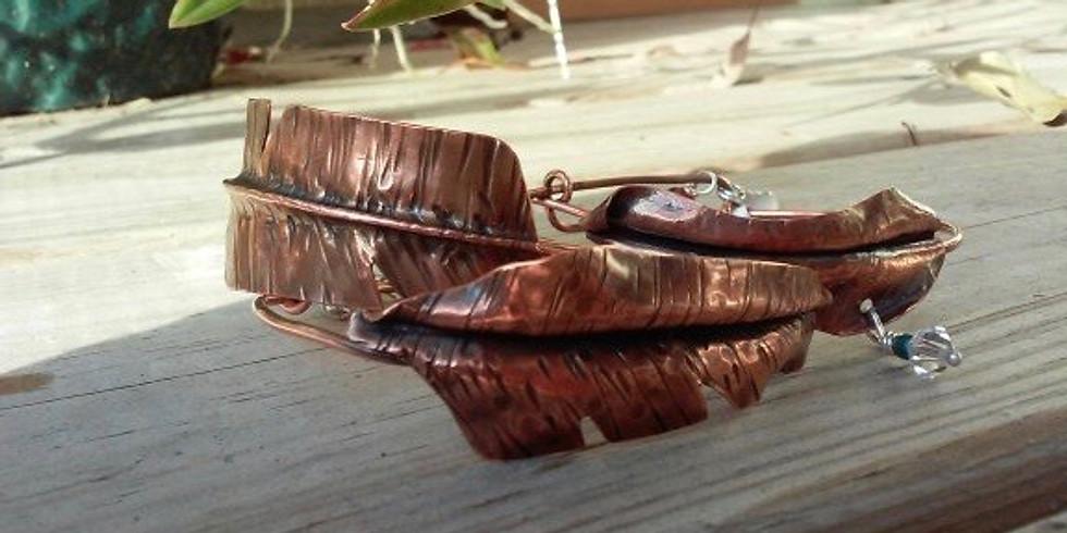 Fold Formed Copper Leaf Bracelet