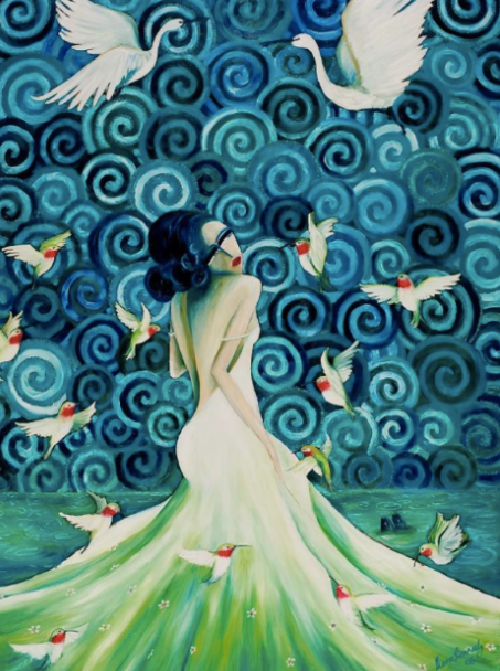 Lady with Hummingbirds