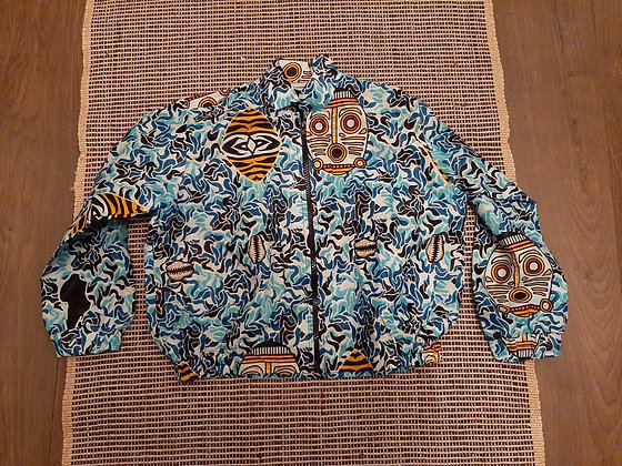 Bomber style-type jacket made from Kitenge cotton fabric