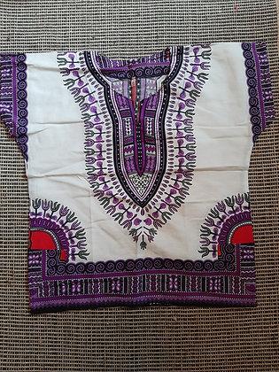Dashiki, purple and white, XL