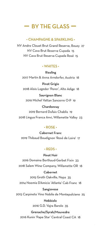 Sidework Wine by the Glass Menu DEC 2020