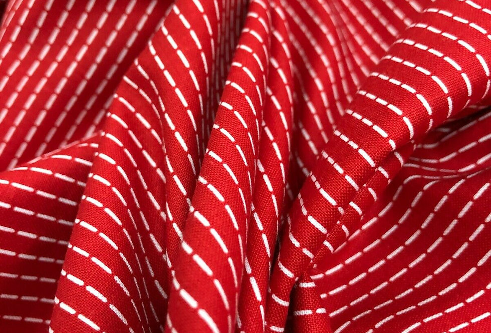Pop in Red - Red with White Stripe - 100% Craft Cotton