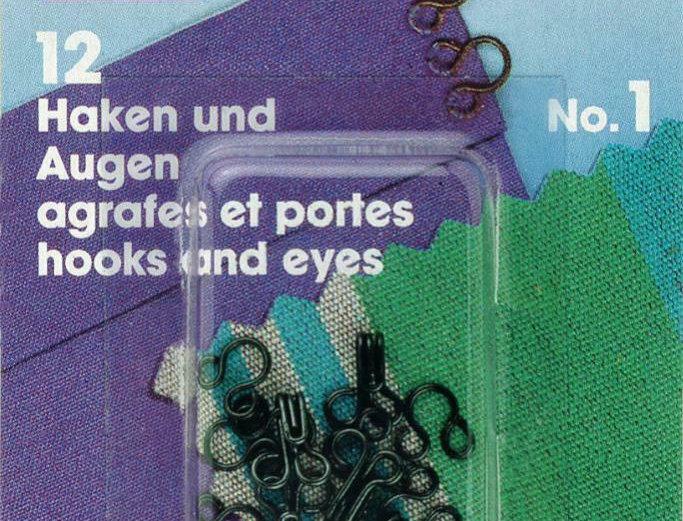 Prym Brass Dressmaking Hook & Eyes Sets - No.1 No.2 No.3 - Black