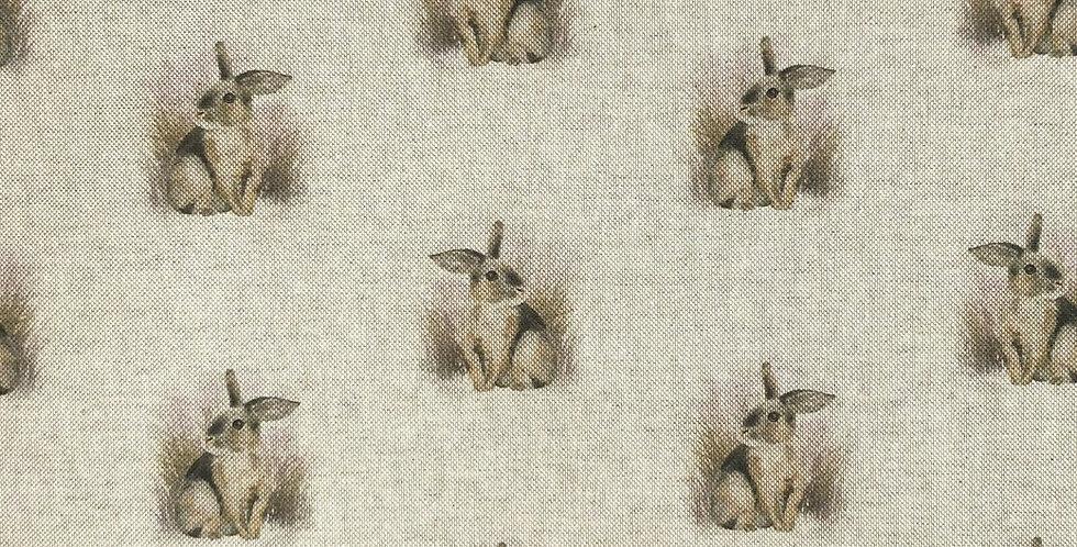 Rabbits - Linen Look Canvas Fabric