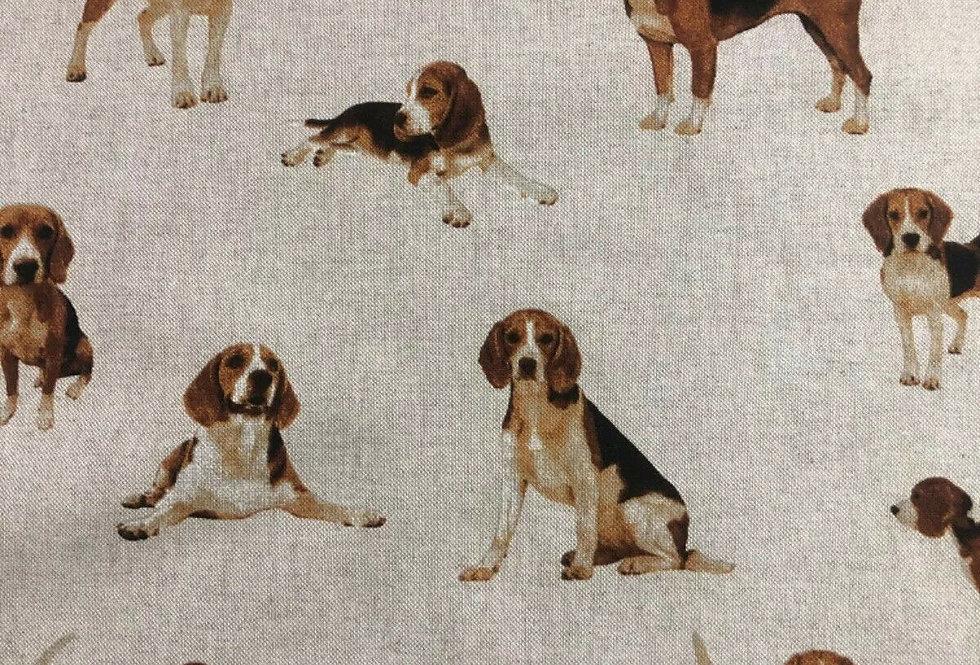 Beagles - Linen Look Canvas Fabric