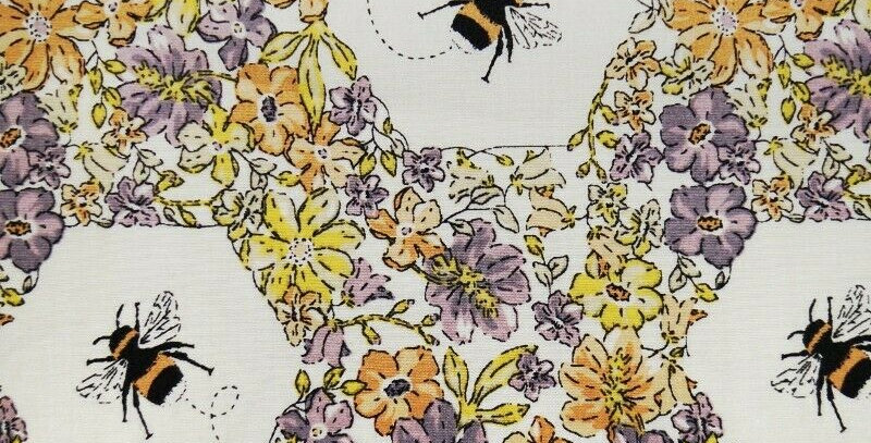 Water Colour Bees - 100% Cotton Poplin
