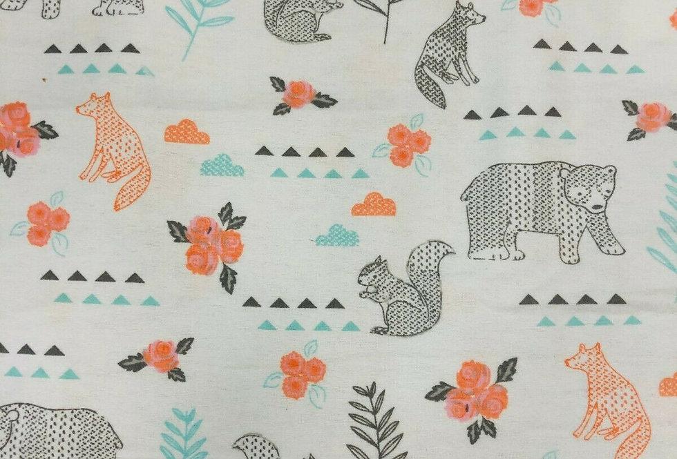 Woodland Animals - Brushed Cotton Fabric
