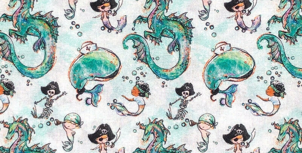 Whales & Dragons - Merboys - Digitally Printed 100% Craft Cotton