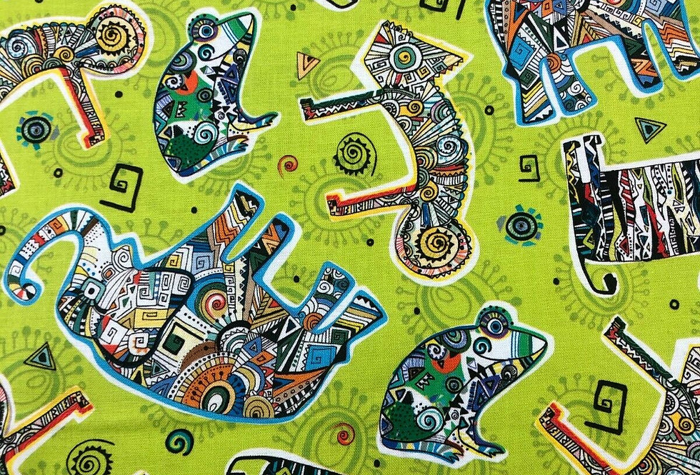 Funky Abstract Animals Vivid Green - 100% Craft Cotton