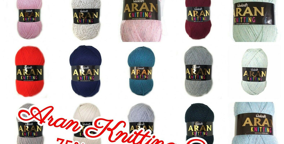 Woolcraft Heritage Knitting ARAN WITH WOOL 400g Ball 25% Wool 75% Acrylic Blend