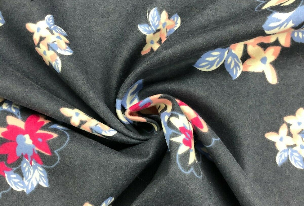Navy/Dark Grey Floral - Brushed Cotton Fabric