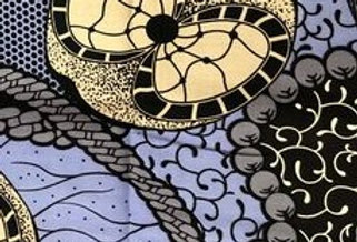'Midnight Cross Chains' African Wax Fabric