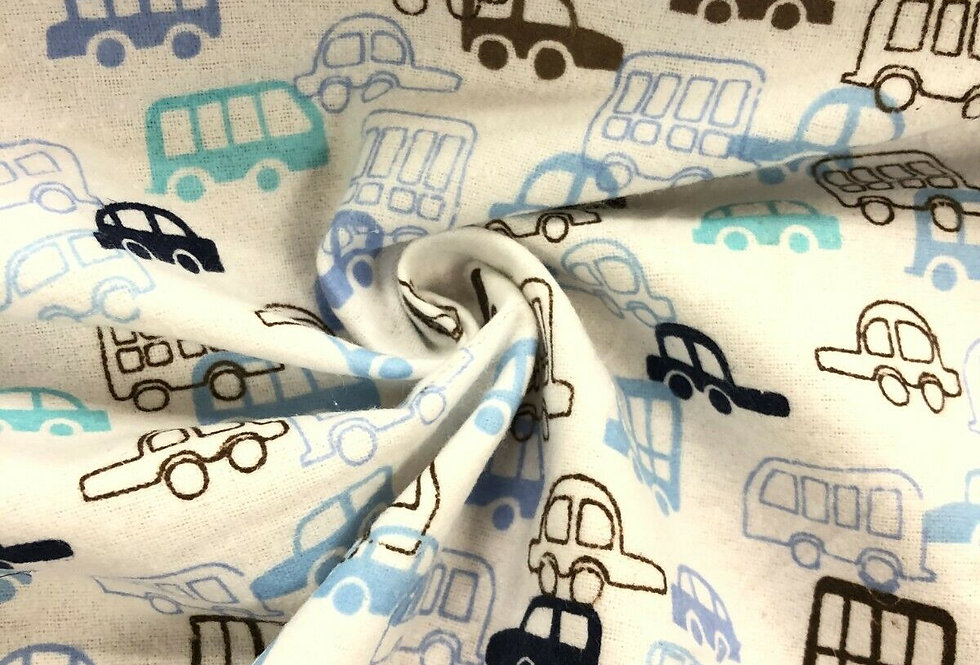 Cars White/Blue - Brushed Cotton Fabric