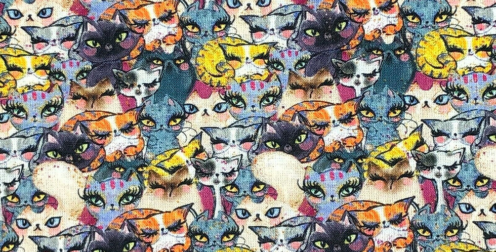 Cat Crowd Collage - Digitally Printed 100% Craft Cotton