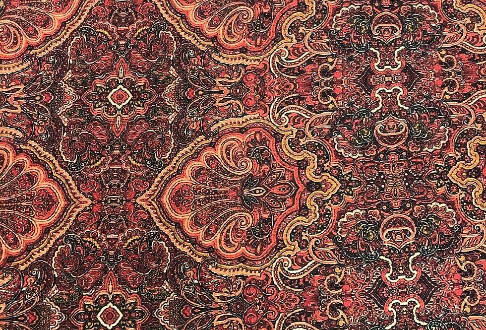 Red Ornate - William Morris Inspired Printed Satin