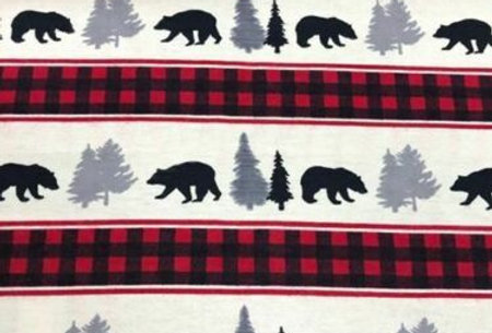 Checked Border Polar Bear  - Brushed Cotton Fabric