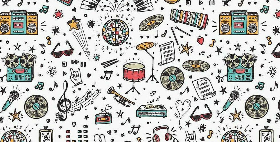 Music - School Days - Digitally Printed 100% Craft Cotton