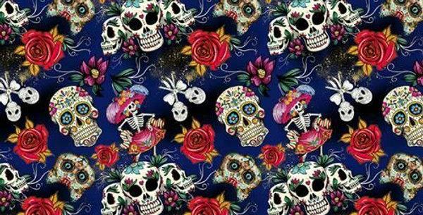 Day of the Dead Sugar Skulls - Digitally Printed 100% Craft Cotton
