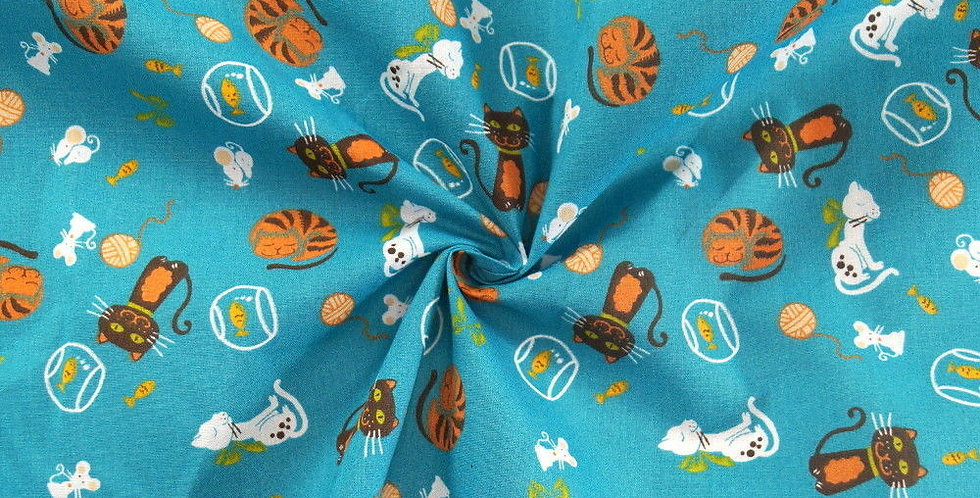 Cats Printed Polycotton Fabric (58)