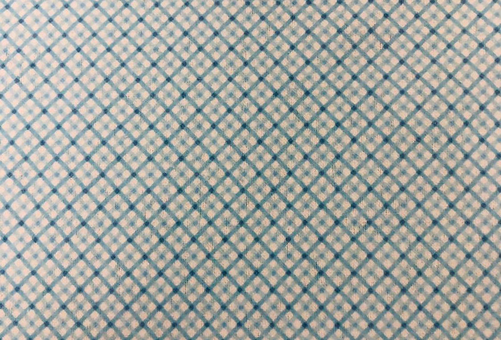 Blue Check - Brushed Cotton Fabric