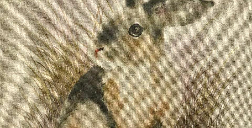 Rabbit Panel- Linen Look Canvas Fabric