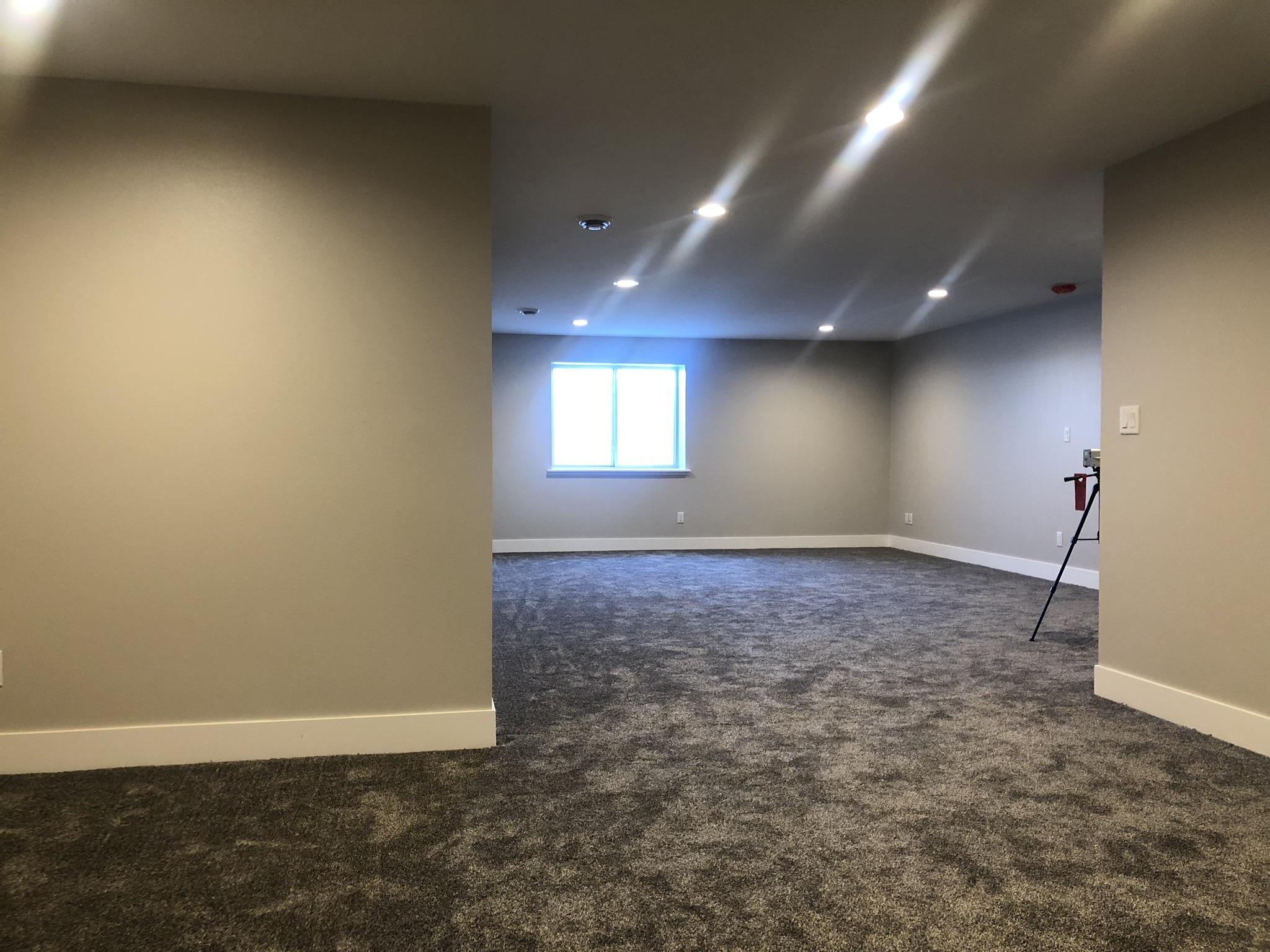 open family room in basements