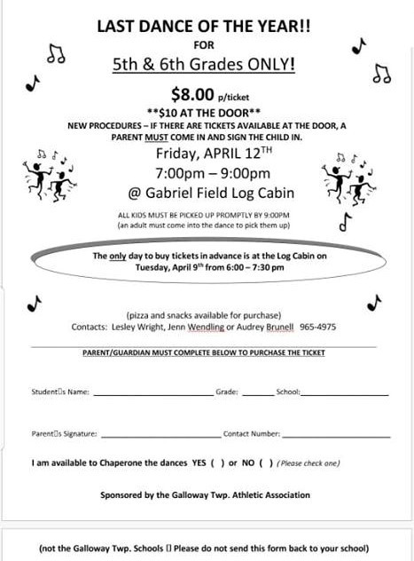 5th and 6th grade Dance Tickets on Sale TONIGHT ONLY 6pm-7:30pm - $8.00 per ticket.