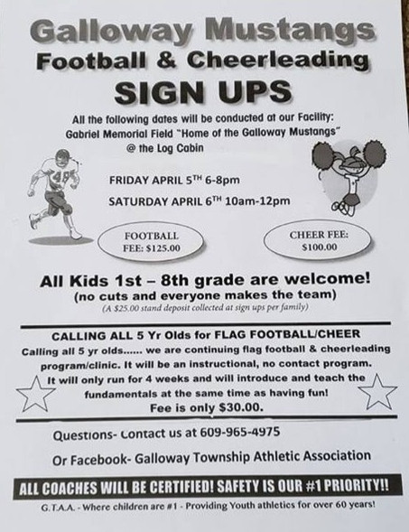 Galloway Mustangs Football and Cheerleading Registration