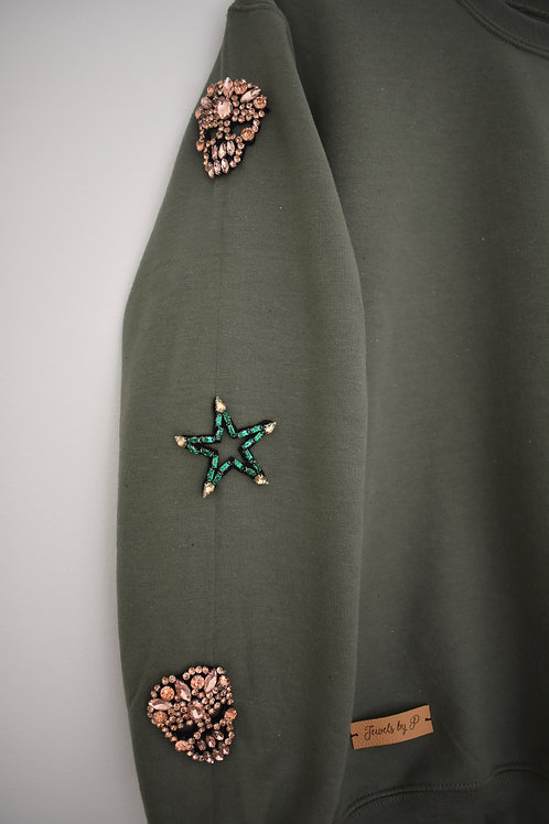 Olive Beaded Sweatshirt
