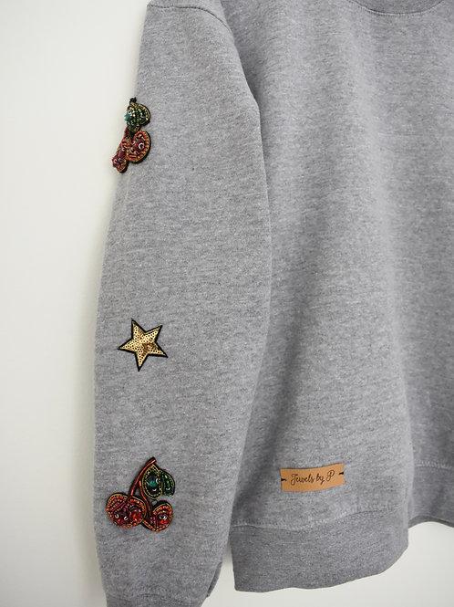 Grey Beaded Sweatshirt