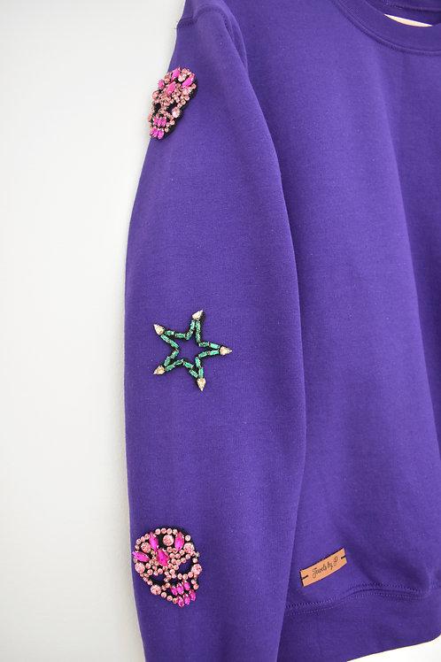 Purple Beaded Sweatshirt