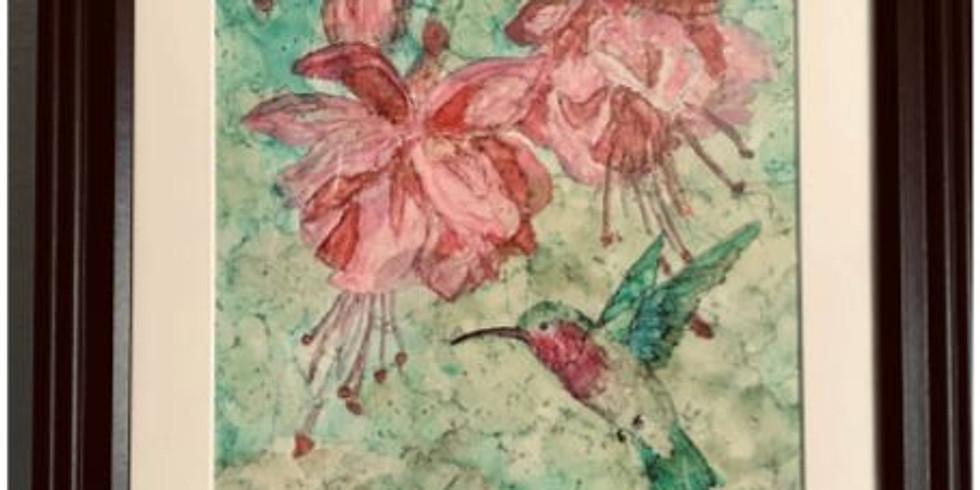 Fuchsias and Hummingbird